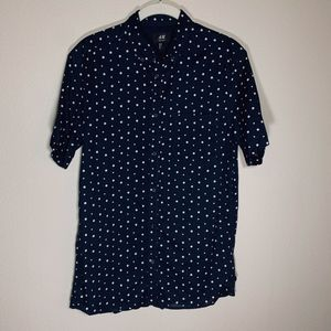 H&M Short Sleeve Polka Dot Button Down
